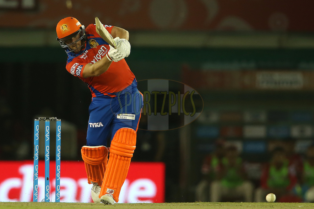 Aaron Finch of Gujarat Lions straight drives a delivery during match 3 of the Vivo Indian Premier League (IPL) 2016 between the Kings XI Punjab and the Gujarat Lions held at the IS Bindra Stadium, Mohali, India on the 11th April 2016<br /> <br /> Photo by Shaun Roy/ IPL/ SPORTZPICS