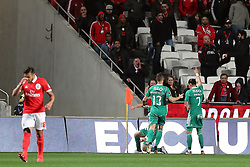 February 3, 2018 - Lisbon, Portugal - Rio Ave's forward Guedes (7) celebrates with teammates after scoring during the Portuguese League football match SL Benfica vs Rio Ave FC at the Luz stadium in Lisbon on February 3, 2018. Photo: Pedro Fiuza  (Credit Image: © Pedro Fiuza/NurPhoto via ZUMA Press)