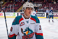 KELOWNA, CANADA - JANUARY 5: Leif Mattson #28 of the Kelowna Rockets skates to the bench against the Seattle Thunderbirds on January 5, 2017 at Prospera Place in Kelowna, British Columbia, Canada.  (Photo by Marissa Baecker/Shoot the Breeze)  *** Local Caption ***