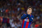 Gerard Piqué laments his kick during the La Liga match between Barcelona and Atletico Madrid at Camp Nou, Barcelona, Spain on 21 September 2016. Photo by Eric Alonso.