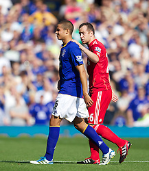 LIVERPOOL, ENGLAND - Saturday, October 1, 2011: Everton's Jack Rodwell looks dejected after being shown the red card and sent off during the Premiership match against Liverpool at Goodison Park. (Pic by Vegard Grott/Propaganda)