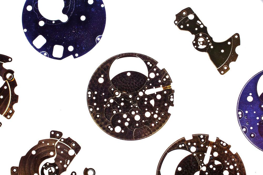 Handmade wrist watches internal component on display, Geneve, Switzerland.