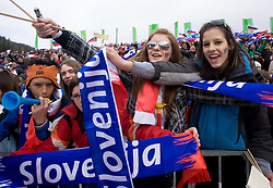 Slovenian fans during Flying Hill Individual Qualifications at 1st day of FIS Ski Flying World Championships Planica 2010, on March 18, 2010, Planica, Slovenia.  (Photo by Vid Ponikvar / Sportida)