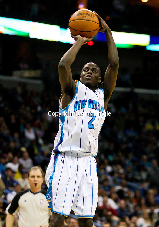 Feb 26, 2010; New Orleans, LA, USA; New Orleans Hornets guard Darren Collison (2) shoots during the second half against the Orlando Magic at the New Orleans Arena. The Hornets defeated the Magic 100-93. Mandatory Credit: Derick E. Hingle-US PRESSWIRE