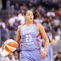 08 August 2014: Atlanta Dream guard Shoni Schimmel (23) brings the ball up court during the Los Angeles Sparks 80-77 overtime win over the Atlanta Dream, at the Staples Center, Los Angeles, California, USA.
