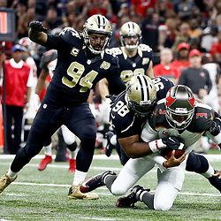 Dec 24, 2016; New Orleans, LA, USA; Tampa Bay Buccaneers quarterback Jameis Winston (3) is sacked by New Orleans Saints defensive tackle Sheldon Rankins (98) during the second quarter of a game at the Mercedes-Benz Superdome. Mandatory Credit: Derick E. Hingle-USA TODAY Sports