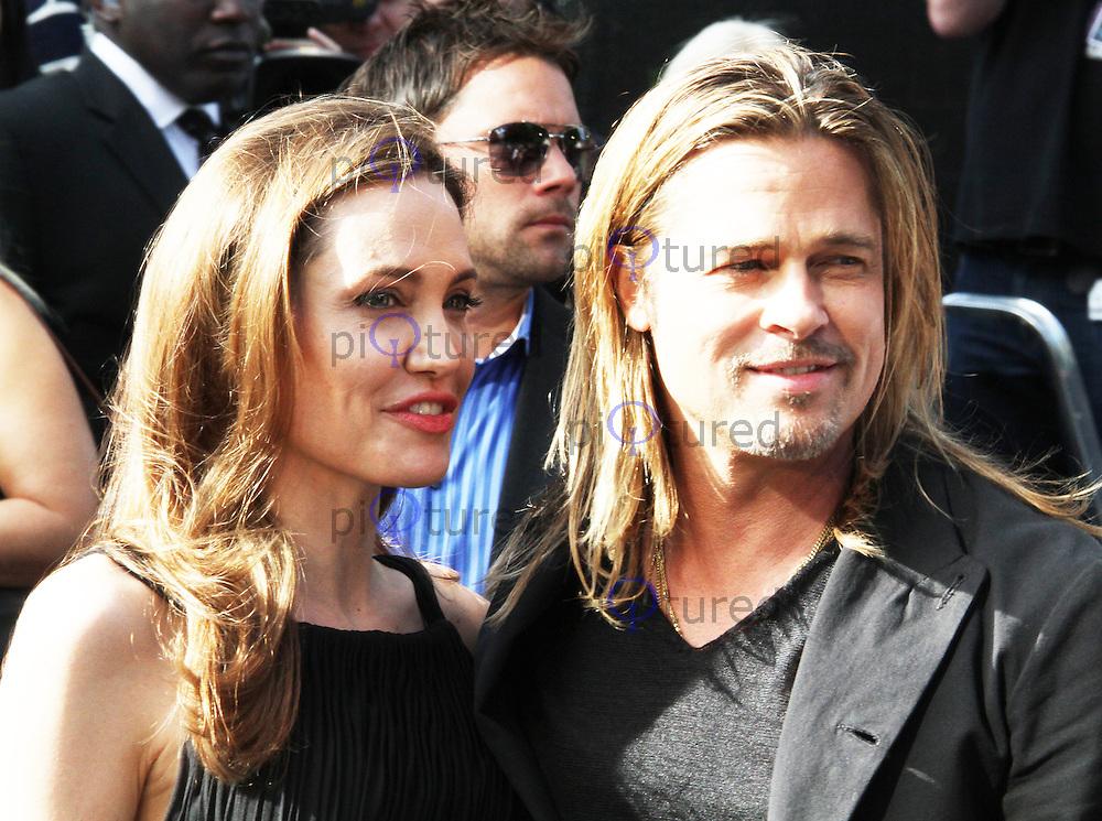 Angelina Jolie; Brad Pitt, World War Z World Film Premiere, Leicester Square London UK, 02 June 2013, (Photo by Richard Goldschmidt)