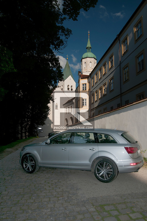 The Audi Q7 in the historical district of Freising, Germany, near the Munich airport.