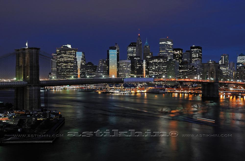 Manhattan at night from Brooklyn