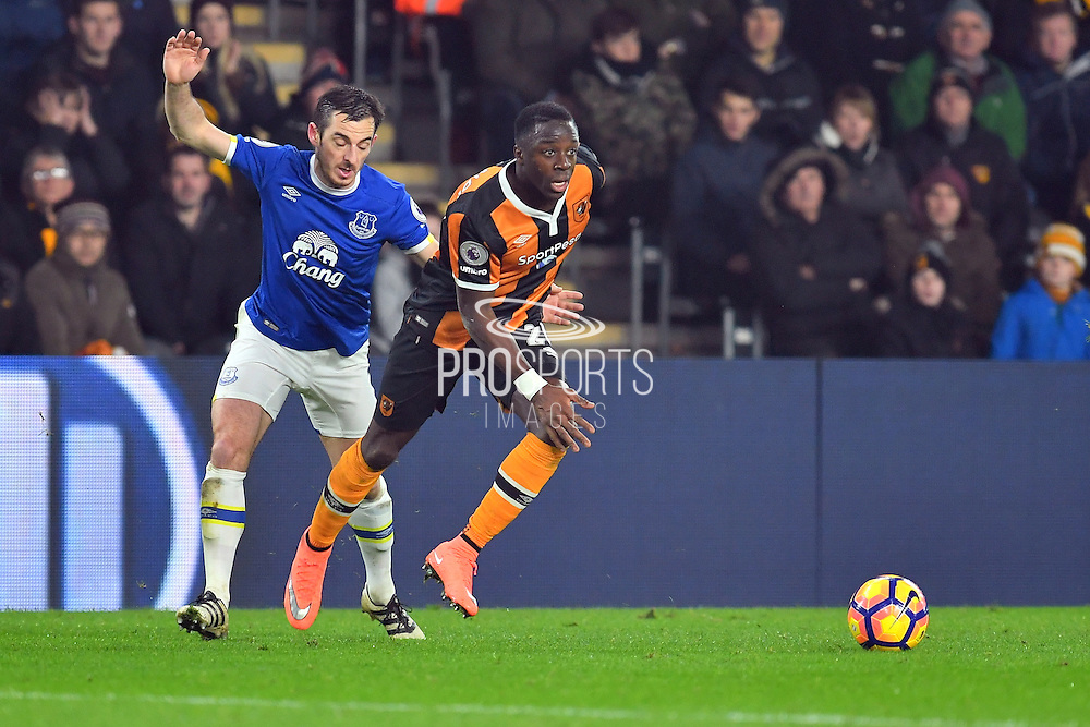 Hull City Striker Adama Diomande (20) and Leighton Baines (3) Everton FC defender during the Premier League match between Hull City and Everton at the KCOM Stadium, Kingston upon Hull, England on 30 December 2016. Photo by Ian Lyall.
