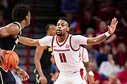FAYETTEVILLE, AR - FEBRUARY 5:  Keyshawn Embery-Simpson #11 of the Arkansas Razorbacks plays defense during a game against the Vanderbilt Commodores at Bud Walton Arena on February 5, 2019 in Fayetteville, Arkansas. The Razorbacks defeated the Commodores 69-66.  (Photo by Wesley Hitt/Getty Images) *** Local Caption *** Keyshawn Embery-Simpson