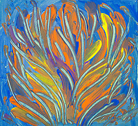 Colorful abstract aquatic plant like image with bended lines and branches like shapes in blue, yellow and orange colors, with nuances.