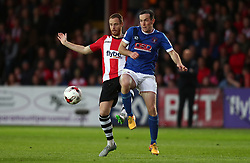 Ryan Harley of Exeter City battles for the ball with  Luke Joyce of Carlisle United - Mandatory by-line: Gary Day/JMP - 18/05/2017 - FOOTBALL - St James Park - Exeter, England - Exeter City v Carlisle United - Sky Bet League Two Play-off Semi-Final 2nd Leg
