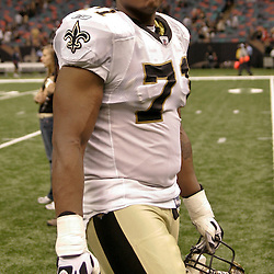 August 21, 2010; New Orleans, LA, USA; New Orleans Saints rookie offensive tackle Charles Brown (71) walks off the field following a 38-20 win by the New Orleans Saints over the Houston Texans during a preseason game at the Louisiana Superdome. Mandatory Credit: Derick E. Hingle