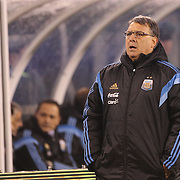Argentina coach Gerardo Martino on the sideline during the Argentina Vs Ecuador International friendly football match at MetLife Stadium, New Jersey. USA. 31st march 2015. Photo Tim Clayton