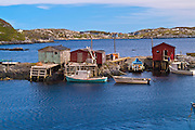 Fishing shacks on the Atlantic coastline<br /> Burnt Islands<br /> Newfoundland <br /> Canada