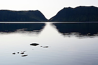 Horft að útfalli á Langasjó. Lake Langisjor.