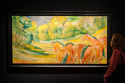 "© Licensed to London News Pictures. 28/01/2016. London, UK.   ""Grosse Landschaft I (Large Landscape 1)"" by Franze Marc (est. £4-6m), on display at Sotheby's preview of its upcoming Impressionist, Modern & Surrealist art sale on 3 February featuring works by some of the most important artists of the 20th century.  The combined total of the evening sale is expected to exceed £100m. Photo credit : Stephen Chung/LNP"