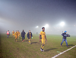 NEWPORT, WALES - Wednesday, December 21, 2016: Newport County players walk off dejected after losing to Plymouth Argyle in extra-time during the FA Cup 2nd Round Replay match at Rodney Parade. (Pic by David Rawcliffe/Propaganda)