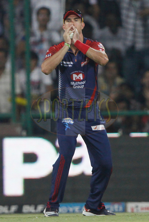 Delhi Daredevils player Kevin Pietersen catches the wicket of Mumbai Indian player Sachin Tendulkar during match 36 of the the Indian Premier League ( IPL) 2012  between The Delhi Daredevils and the Mumbai Indians held at the Feroz Shah Kotla, Delhi on the 27th April 2012..Photo by Pankaj Nangia/IPL/SPORTZPICS