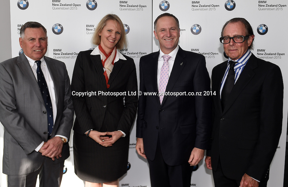 John Hart, BMW's NIna Englert, Prime Minister John Key and Sir Michael Hill. NZ Golf Open 2015 Announcement, The Cloud, Auckland on Tuesday 7 October 2014. Photo: Andrew Cornaga / Photosport.co.nz