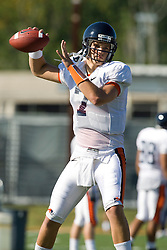 Virginia quarterback Peter Lalich (7).  The Virginia Cavaliers football team during an open practice on August 9, 2008 at the University of Virginia's football turf field in Charlottesville, VA.
