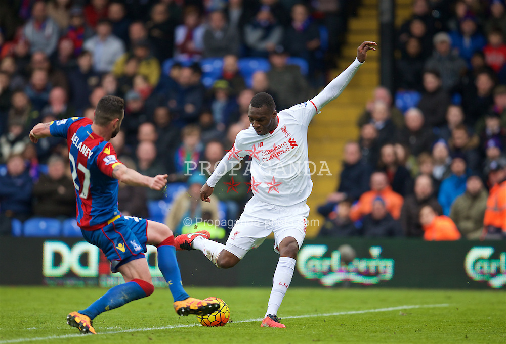 LONDON, ENGLAND - Sunday, March 6, 2016: Liverpool's Christian Benteke shoots against Crystal Palace during the Premier League match at Selhurst Park. (Pic by David Rawcliffe/Propaganda)