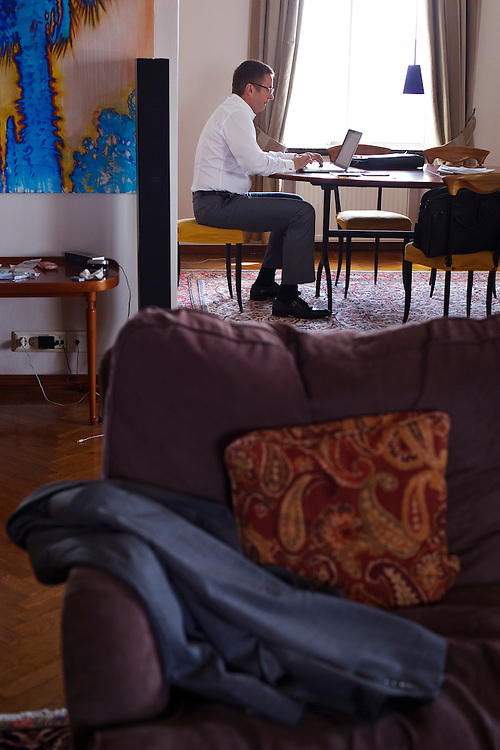 Ivan Mikloš works at his apartment on May 25, 2015 in Kyiv, Ukraine. Mr. Mikloš is Chief Advisor to the Minister of Finance of Ukraine and Advisor to the Minister of Economic Development and Trade of Ukraine.