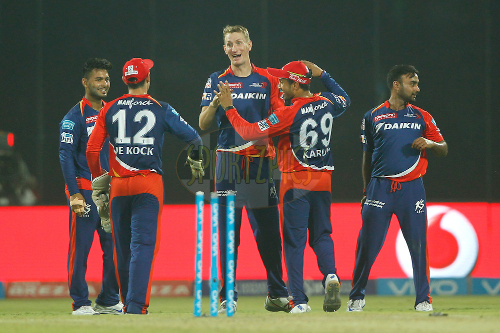 Christopher Morris of Delhi Daredevils celebrates the wicket of Jason Holder of Kolkata Knight Riders during match 26 of the Vivo IPL ( Indian Premier League ) 2016 between the Delhi Daredevils and the Kolkata Knight Riders held at The Feroz Shah Kotla Ground in Delhi, India,  on the 30th April 2016<br /> <br /> Photo by Deepak Malik / IPL/ SPORTZPICS