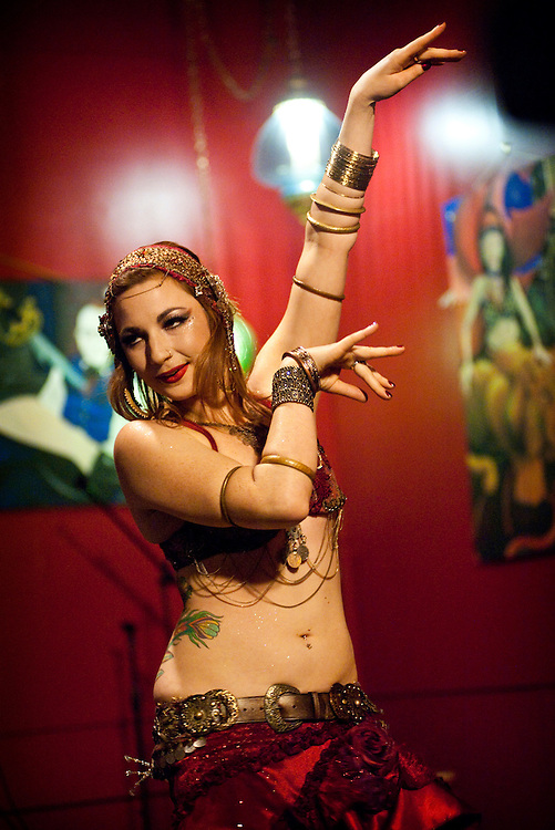 Bellydance Uncorked performances at Vino Vixens in Portland on November 26, 2011. (photo by Casey Campbell)