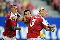 Fotball<br /> Tyskland<br /> 26.05.2012<br /> Foto: Witters/Digitalsport<br /> NORWAY ONLY<br /> <br /> v.l. Daniel Agger, Leandro Damiao (Brasilien), Simon Kjær<br /> <br /> Fussball, Testspiel, Brasil v Danmark