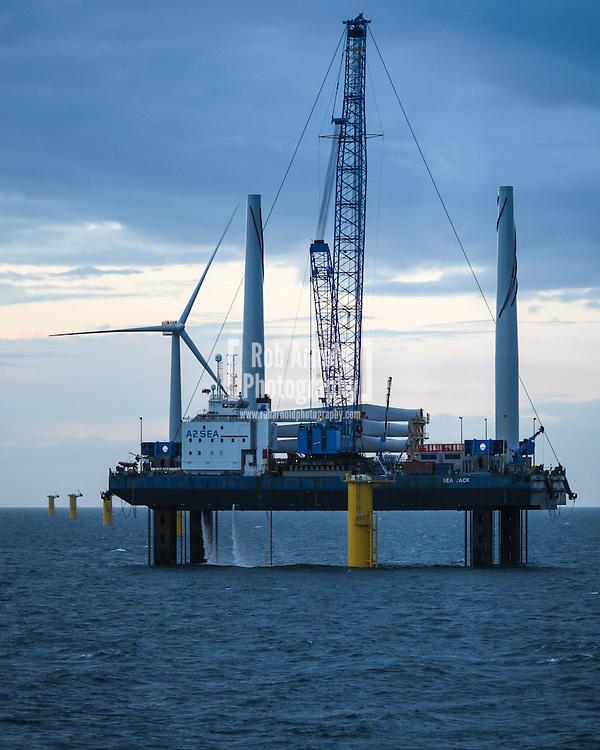 Sea Jack installing a turbine on Gwynt y Mor Offshore Wind Farm off the coast of North Wales