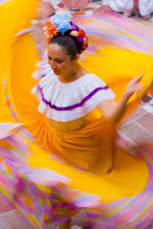 Dancers dressed in Sinaloa costume, cultural performance, Hotel El Fuerte, El Fuerte, Mexico