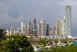 General view of sky scrapers / skyline, Panama City, Panama