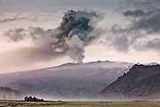 Eyjafjallajökull erupting volcano in southern Iceland, April 2010.