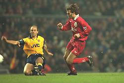 Liverpool, England - Wednesday, November 27th, 1996: Liverpool's Patrik Berger in action during the 4-2 victory over Arsenal during the 4th Round of the League Cup at Anfield. (Pic by David Rawcliffe/Propaganda)