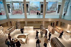 Interior of Egyptian courtyard at Neues Museum of New Museum on Museumsinsel or Museum Island in Berlin