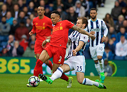 WEST BROMWICH, ENGLAND - Easter Sunday, April 16, 2017, 2016: Liverpool's Nathaniel Clyne in action against West Bromwich Albion's Craig Dawson during the FA Premier League match at the Hawthorns. (Pic by David Rawcliffe/Propaganda)