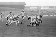 Kerry tackles Dublin to the ground to get possession of the ball during the All Ireland Senior Gaelic Football Semi Final, Dublin v Kerry in Croke Park on the 23rd of January 1977. Dublin 3-12 Kerry 1-13.