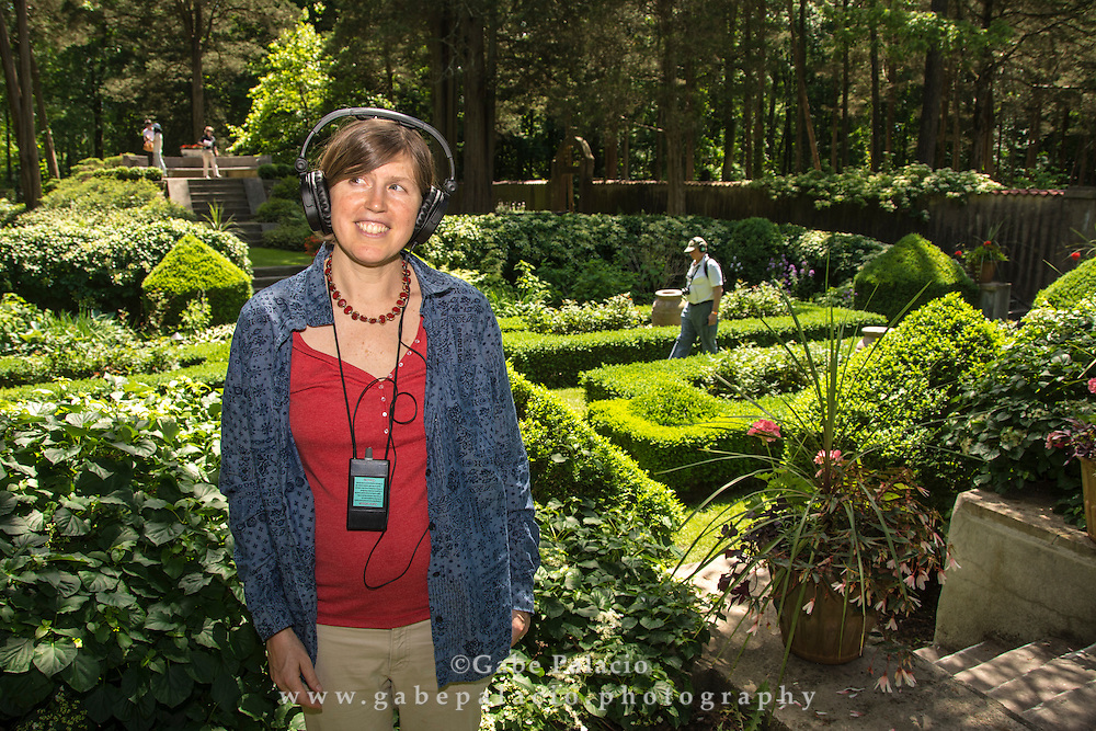 Betsey Biggs installation in the Sunken Gardens at opening for In the Garden of Sonic Delights at Caramoor in Katonah New York on June 7, 2014. <br /> (photo by Gabe Palacio)