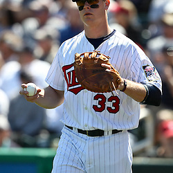 March 11, 2011; Fort Myers, FL, USA; Minnesota Twins first baseman Justin Morneau (33) before a spring training exhibition game against the Boston Red Sox at Hammond Stadium.   Mandatory Credit: Derick E. Hingle