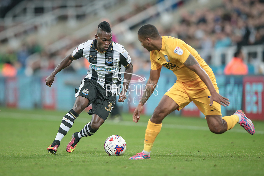 Christian Atsu (Newcastle United) runs at the Preston defender during the EFL Cup 4th round match between Newcastle United and Preston North End at St. James's Park, Newcastle, England on 25 October 2016. Photo by Mark P Doherty.