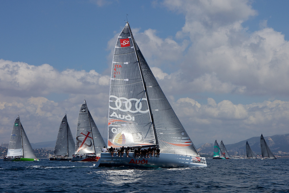 FRANCE, Marseille, 9th June 2009, AUDI MedCup, Marseille Trophy, Audi TP52 Powered by Q8 (06) and the rest of the fleet head upwind.