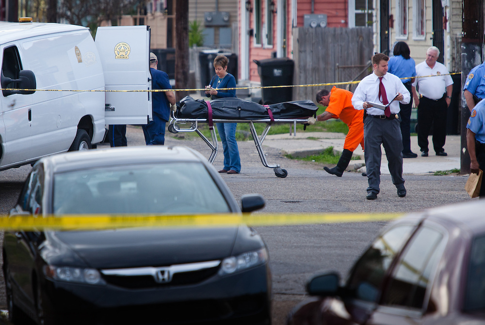 February 3, 2012, New Orleans, Louisiana, Body of a 29-year-old man gunned down in the 7th Ward at the intersection of Annette and North Villere streets carried to the coroners van brings 2012's murder count to 26.