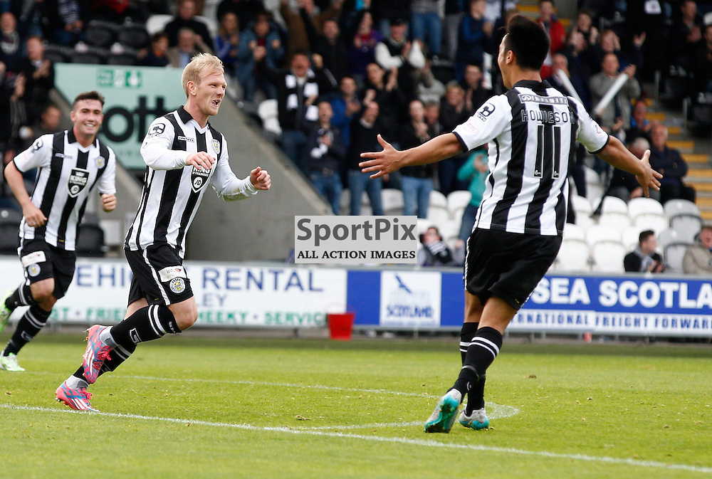 St.Mirren v Dunfermline Athletic, PETROFAC TRAINING CUP 1/4 Final 10th October 2015..Scott Agnew celebrates scoring St.Mirren's third goal.....(c) STEPHEN LAWSON | SportPix.org.uk