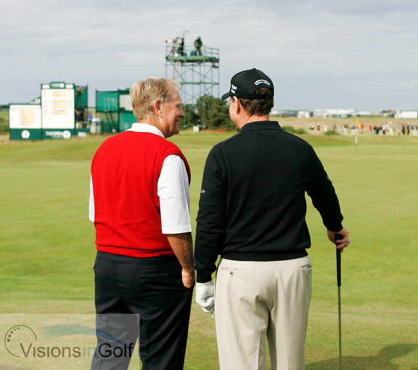Jack Nicklaus in his last round at The Open with Tom Watsom on the 17th tee<br />