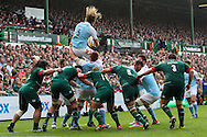 Josh Furno of Newcastle Falcons (centre) takes line out ball during the Aviva Premiership match at Welford Road, Leicester<br /> Picture by Andy Kearns/Focus Images Ltd 0781 864 4264<br /> 06/09/2014