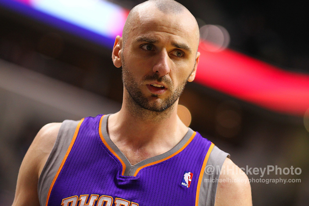 Feb. 27, 2011; Indianapolis, IN, USA; Phoenix Suns center Marcin Gortat (4) walks down court during a stop in play against the Indiana Pacers at Conseco Fieldhouse. Phoenix defeated Indiana 110-108. Mandatory credit: Michael Hickey-US PRESSWIRE