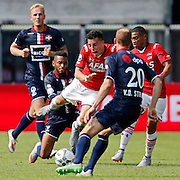 ALKMAAR - 23-08-15, AZ - Willem II, AFAS Stadion, 0-0, Willem II speler Nick van der Velden (l), Willem II Speler Funso Ojo (2vl), AZ speler Thom Haye (m), Willem II speler Frank van der Struijk (2vr), AZ speler Dabney dos Santos Souza (r).