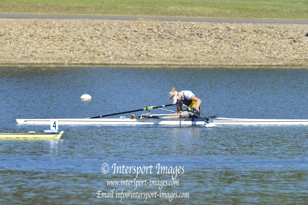 Sydney, Australia.  Women's Single Final, AUS W1X. Kim CROW, World Cup I. and  Sydney International Rowing Regatta. Sydney International Rowing Centre, Penrith Lakes, NSW. Sunday   24/03/2013 [Mandatory Credit. Peter Spurrier/Intersport Images]..